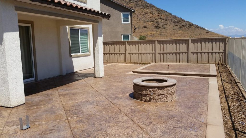 Stamped concrete with desert finish